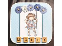 "Hand painted, stamped and coloured wooden storage/trimnket box ""Molly"""