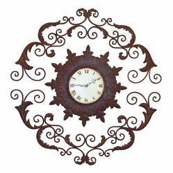 Scroll Medallion Wrought Iron Wall Clock Open Metal Brown Ornate Floating Dial