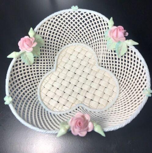 Belleek 4-Strand Shamrock Clover Basket with Rose **c.1921** SINGLE PAD