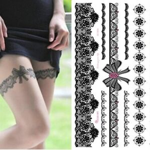 Waterproof Temporary Tattoo Sticker use on Body or Leg Sexy Lace