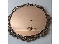 Antique Round Bronzed Bevelled Mirror