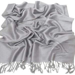Silver Grey Solid Colour Pashmina Shawl Scarf Wrap Pashminas Shawls Scarves NEW