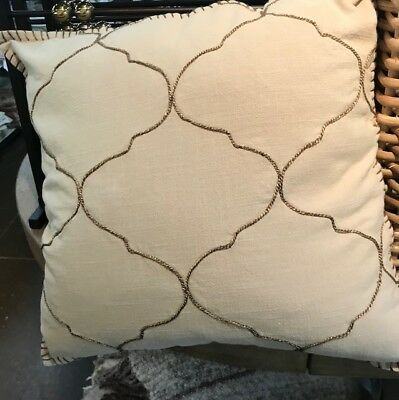 - Pottery Barn Tile Pillow Cover Khaki 22 sq Greek Key Embroidered Moroccan Tiled