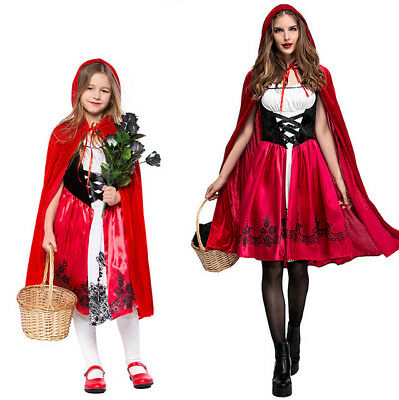 Rotkäppchen Damen Märchen Karneval Halloween Kostüm Kleid mit - Halloween Kostüm