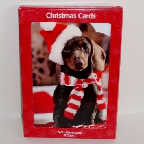 Pack of 8 Dachshund Christmas Holiday Cards with Envelopes