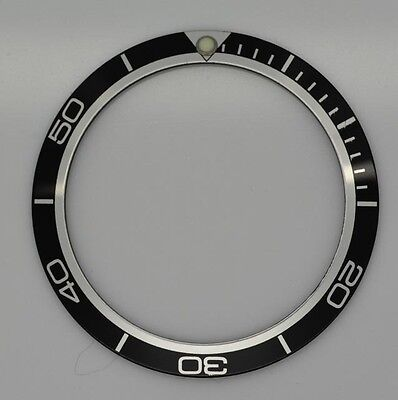 Bezel Insert For And Fits Omega Planet Ocean Watch Black Silver Part Metal
