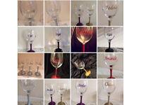 PERSONALISED GLITTER WINE GLASS 300ml