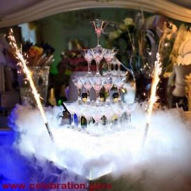 Champagne glasses show with special effects