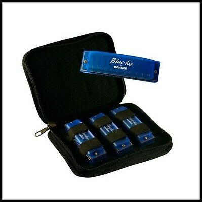 Hohner Blue Ice 3 Harmonica Pack in the keys of C, D and G with Zippered Case