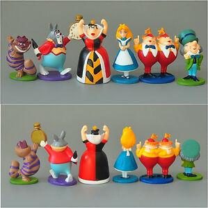 6pcs Cute  ALICE IN WONDERLAND PVC Mini Cake Toppers Figure Toy Doll sets