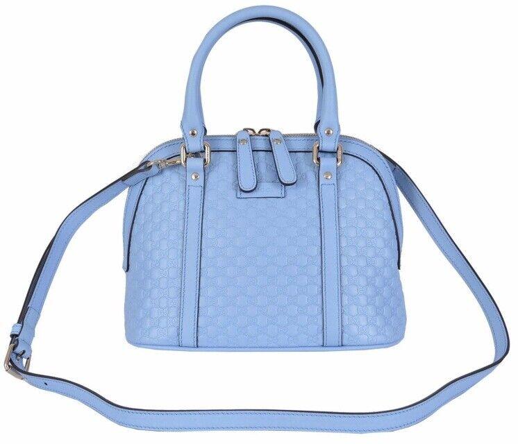 Photo Gucci 449654 Micro GG Baby Blue Leather Convertible Mini Dome Purse W Receipt