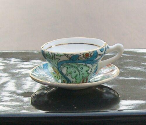 Rosina English Transferware Bone China Miniature Cup & Saucer Dollhouse Chintz