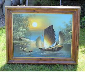 Huge oriental mid century original oil painting, nautical, boat painting.