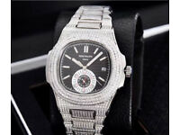 Patek philippe diamond iced out silver not Audemars piguet Rolex watch