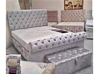 🗣️CHESTERFIELD SLEIGH BED💖 SILVER CRUSHED VELVET🐱 DOUBLE AND KING SIZE IN STOCK🚚
