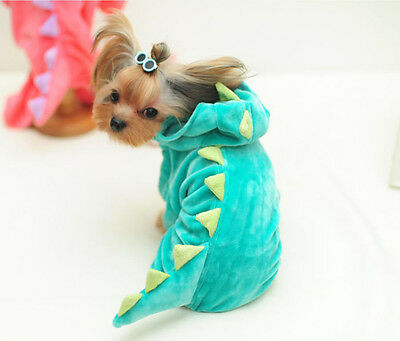 Pet Dog Cat Cute DINOSAUR Clothes Jumpsuit Puppy Warm Hoodie Apparel Green XL