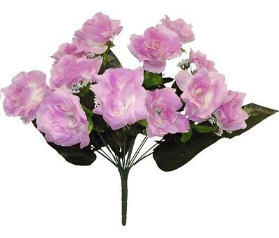 12 Open Roses LAVENDER Long Stem Wedding Bouquet Centerpiece Silk Flowers - Lavender Centerpieces