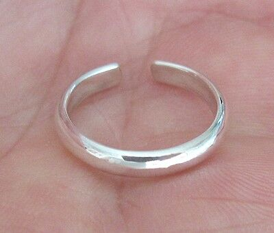 Sterling Silver 2.5mm rounded plain band adjustable toe ring