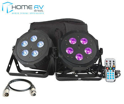 ADJ VPAR PAK 2x LED RGBA DMX Par Can Light Kit Carry Case & Remote FREE 6M XLR American Dj Dj Equipment Case