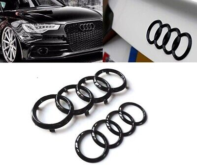 Black Front  Rear Audi Grill A1 A3 A4 S4 A5 S5 A6 S6 SQ7 TT Badge Emblems Set