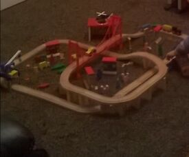 Large wooden train track set