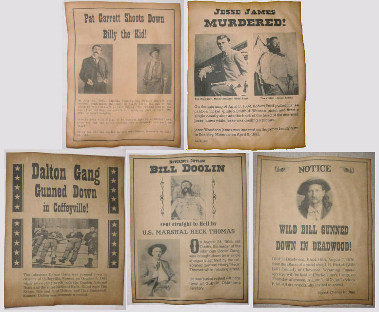 5 Old West Death Announcement Posters, Billy the Kid, Jesse James, etc., wanted