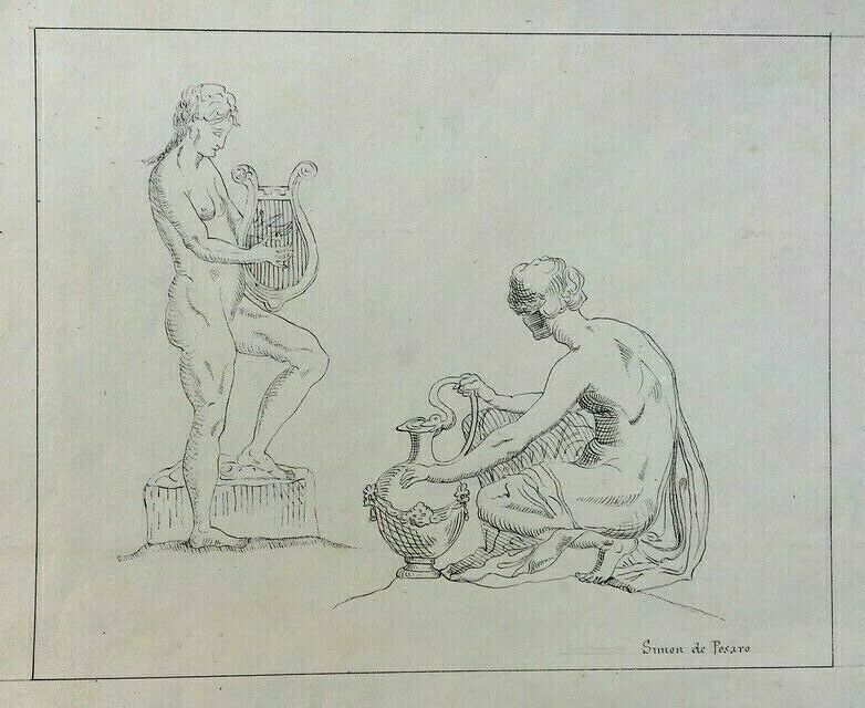 Old drawing signed Simon de Pesaro, Antique characters, Ink, 19th century