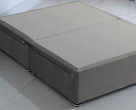 Queen size double bed BASE in seal grey chenille 4 drawers VGC Easy to transport in 2 halves