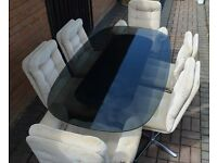 1970s Retro Glass Dining Table And Six Upholstered Chairs