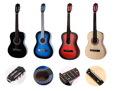 38'' Beginners Acoustic Guitar Kit W/Guitar Case Strap Tuner Pick Steel Strings