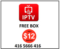 Free IPTV box + $12 monthly or $140 yearly_no tax_no extra fees