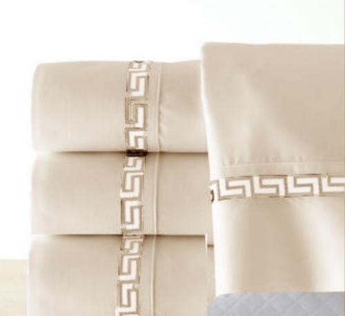 4-PC  Luxury Heavy Embroidery Beige King Sheet Set Flat Fitt
