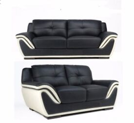 3 Seater, two tone, black and cream bonded leather static sofa Brand New