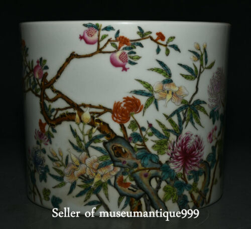 "7.8"" Qing Yongzheng Marked Color Porcelain Dynasty Flower Brush Pot Pencil Vase"