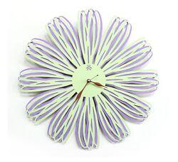 Modern Flower Large Wall Clock Steel Art Design Clock Home Decor - Mint&Violet