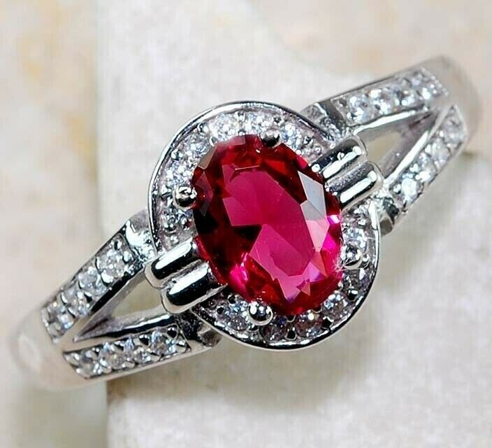 2CT Ruby White Topaz 925 Solid Sterling Silver Ring Jewelry Sz 6, M3 - $11.99
