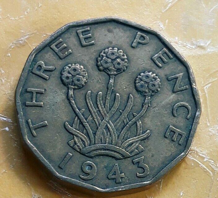 1943 UK Great Britain British Three 3 Pence WWII Era Plant Coin