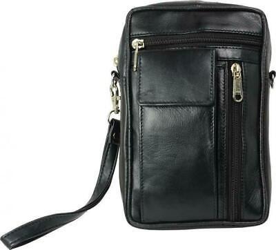 Handgelenktasche mit großen Handyfach softes Lamm Nappa Leder schwarz  i910-2