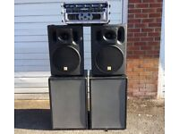 Full Sound System for Disco (2x Subs, 2x Tops, 1x Amp & Crossover