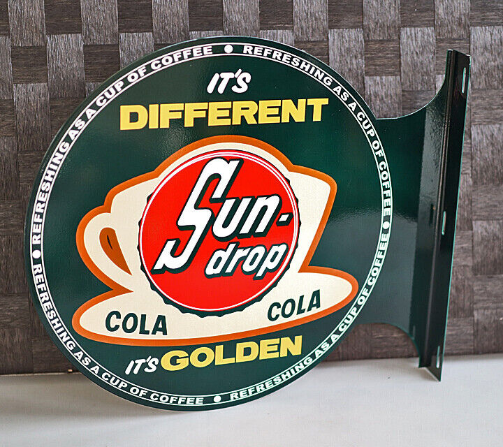 SUNDROP COLA Soda Pop Flange Sign With Coffee Cup sun drop  Modern Retro