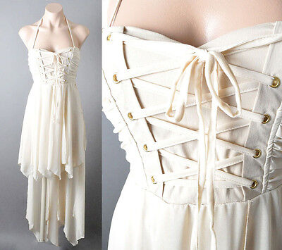Lace Up Corset Bustier Renaissance Fairy Tale Handkerchief Ballet Gown Dress SML