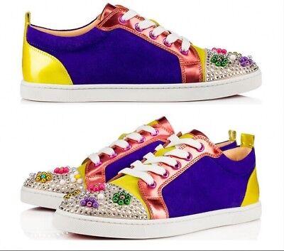 Christian Louboutin Gondocandy Colorblock Low-Top Sneaker,Multi Color Size 36.5