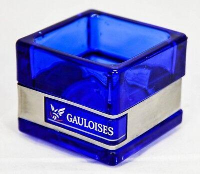 Gauloises Tabak Windlicht, kleine Ausführung, eckig, Glasware Edelstahlabse