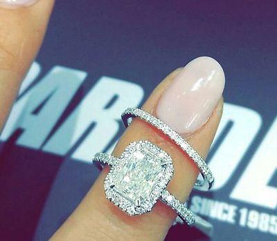 4.01 CT EMERALD CUT HALO DIAMOND ENGAGEMENT & WEDDING RING 14K WHITE GOLD OVER