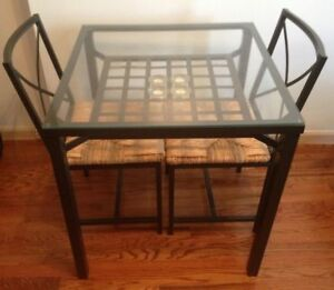 Ikea Glass Table with two chairs