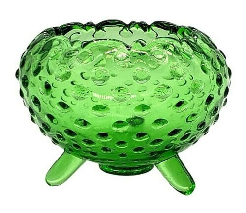 Vintage L.E. Smith Green Hobnail 3 Footed Bowl