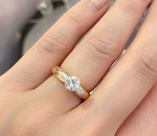 .79 Ct Round Diamond Solitaire Ring With Baguettes In 18k Yellow Gold--hm693e