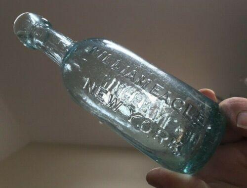 Soda Bottle WM EAGLE GINGERALE Round Bottom 1860s  Very Crude Deep Aqua RARE