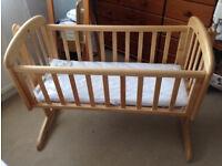 John Lewis 'Anna' Baby / Newborn swinging cradle / crib - lockable; mattress and mobile