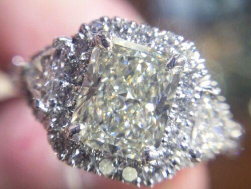 2.07 CARAT K VVS2 GIA CERTIFIED RADIANT CUT DIAMOND ENGAGEMENT RING SET IN PLAT